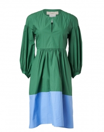 Sala Green and Blue Colorblock Cotton Dress
