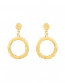 Brushed Gold Drop Hoop Earring