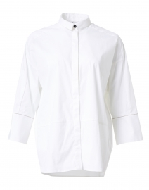 White Stretch Cotton Poplin Shirt