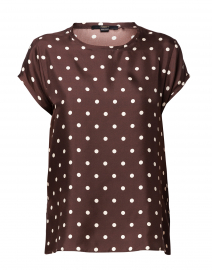 Brown Polka Dot Silk Blouse