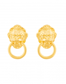 Gold Lion Head Doorknocker Clip On Earrings