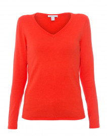 Red Coral Cotton Sweater with Cuff Buttons