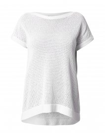 White Mesh Cotton Sweater