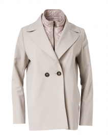 Light Grey Nylon Double Breasted Swing Jacket