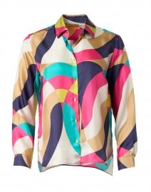 Isabella Multi Abstract Print Silk Shirt