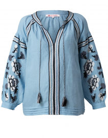 Brinn Sky Blue Embroidered Top