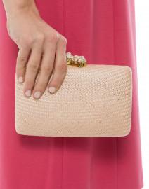 Kayu - Jen Pale Pink Straw Clutch