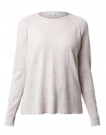 Beige and Grey Piped Cashmere Sweater