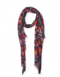 Multicolored Black Printed Silk Cashmere Scarf