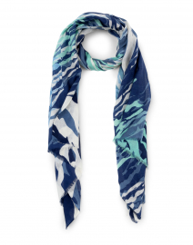 Navy and Mint Wave Silk and Cashmere Scarf