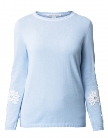Cornflower Sky Blue Embroidered Cotton Sweater