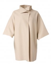 Almond Beige Pressed Wool Kimono Coat