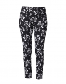 Black and White Floral Control Stretch Pull-On Pant
