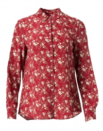 Vetro Red Floral Print Silk Top