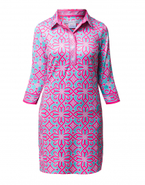 Turquoise and Pink Piazza Printed Jersey Henley Dress