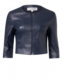 Navy Stretch Leather Cropped Jacket