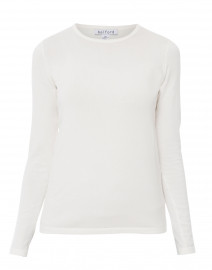 Ivory Crew Neck Stretch Cotton Top