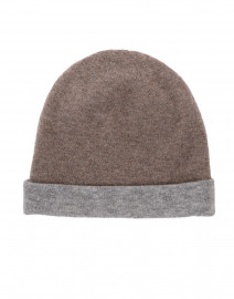 Beige and Grey Reversible Colorblock Cashmere Hat