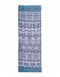 Kinross - Navy Ikat Printed Silk and Cashmere Scarf