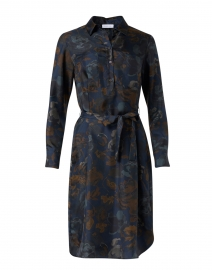 Navy Floral Print SIlk Shirt Dress