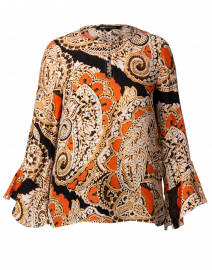 Kayla Orange Paisley Printed Silk Blouse