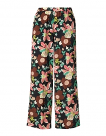 Pink and Green Floral Printed Silk Pull-On Pant