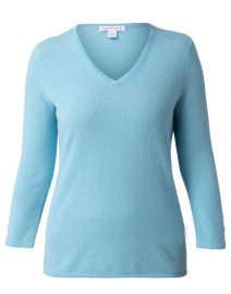 Ice Blue Button Cuff Cashmere Sweater