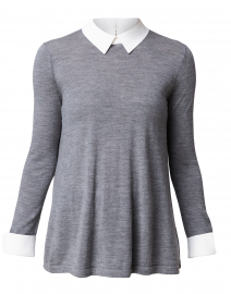 Grey Sweater with White Underlayer