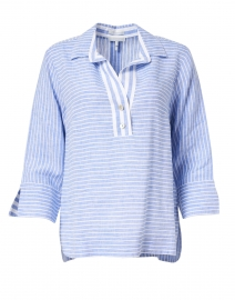 Aileen Blue and White Stripe Button Back Linen Shirt