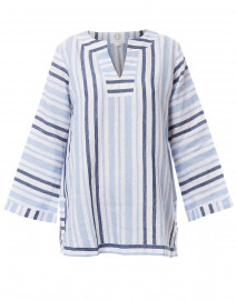Pale Blue, Navy and White Striped Linen Tunic Top