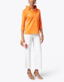 Gretchen Scott - Orange Ruffle Neck Top