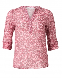 Red and White Swirl Printed Cotton and Silk Blouse