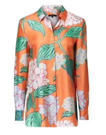 Ruxton Orange Multi Floral Silk Blouse
