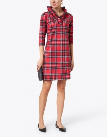 Gretchen Scott - Red Tartan Ruffle Neck Dress
