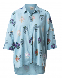 Liva Blue Floral Printed Top