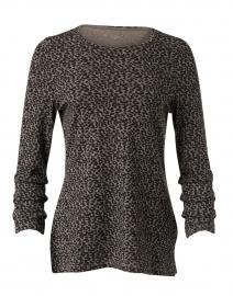 Putty Beige Cheetah Pima Cotton Ruched Sleeve Top