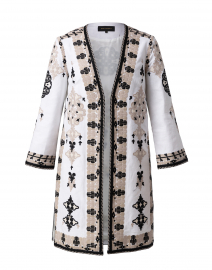 Aster Ivory Embroidered Linen Coat