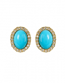 Turquoise Gold and Crystal Oval Clip Earring