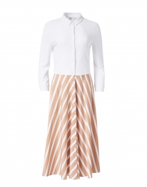 Marna White and Beige Striped Skirt Bottom Dress