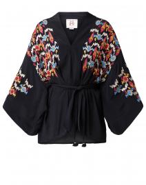 Tokiko Black Embroidered Kimono Top