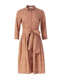 Pink and Brown Grid Print Cotton Poplin Shirt Dress
