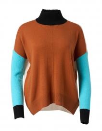 High Ambition Cognac Colorblock Cashmere Sweater