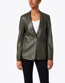 Ecru - Green Leather Blazer with Whipstitch Detail