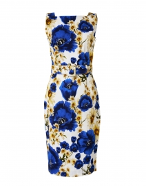 Celine Cobalt Blue Daisy Print Stretch Cotton Dress
