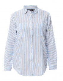 Laetitia White and Blue Striped Button Down Shirt