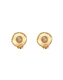 Labradorite Medallion Gold Stud Earrings