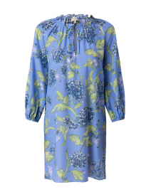 Fressia Blue Floral Printed Silk Dress