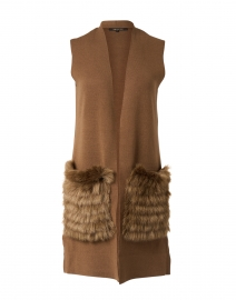Hailee Camel Wool and Faux Fur Vest