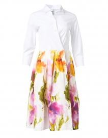 Elenat Orange and Purple Watercolor Floral Shirt Dress