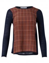 Orange and Navy Geometric Printed Silk and Wool Top